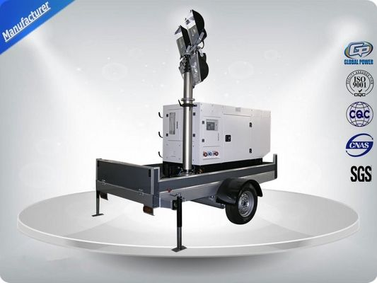 चीन Single Phase Generator Mobile Light Tower Trailer With Manual Operated Mast वितरक